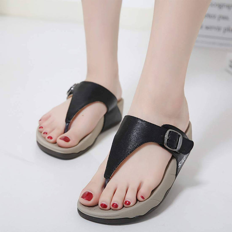 Rhinestone T-Strap Summer Black Sandals - Aptro