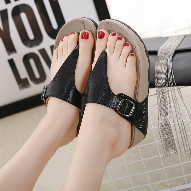 Rhinestone T-Strap Summer Black Sandals - Aptro Fashion