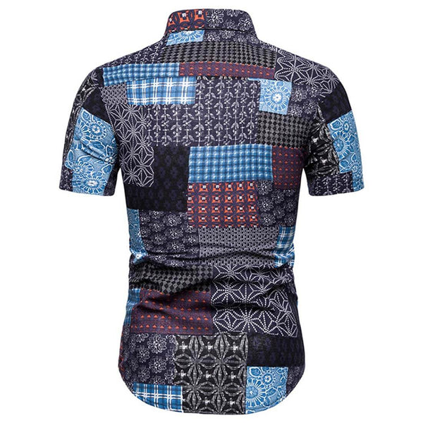 2019 Summer Casual Sky Blue Short Sleeve Plaid Shirt - Aptro Fashion