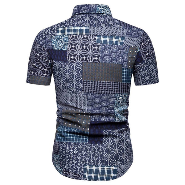 2019 Summer Fashion Casual Short Sleeve Floral Shirt - Aptro Fashion