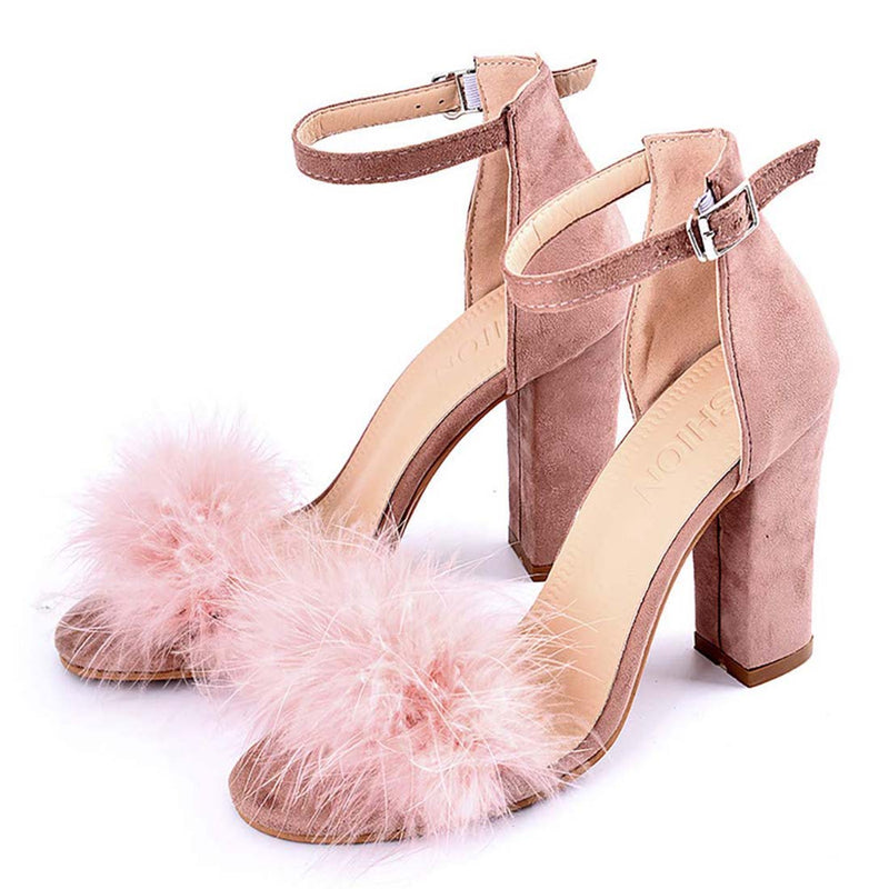 Women's High Heel Sandals Blush Chunky Party Shoes - Aptro