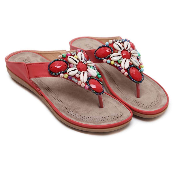 Rhinestone T-Strap Summer Bohemia Red Sandals - Aptro