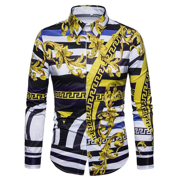 2019 Men's 3D Free Style Long Sleeve Yellow Shirt - Aptro Fashion