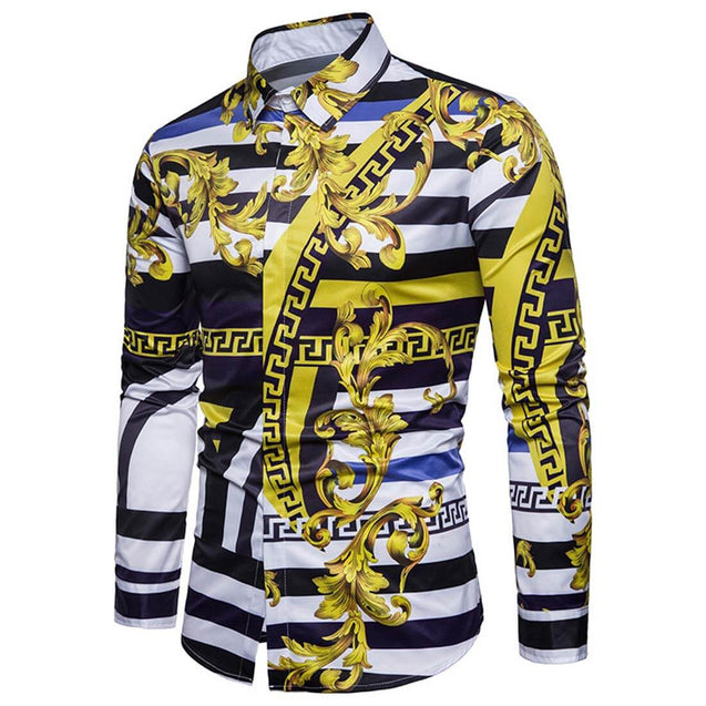 2019 Men's 3D Free Style Long Sleeve Yellow Shirt