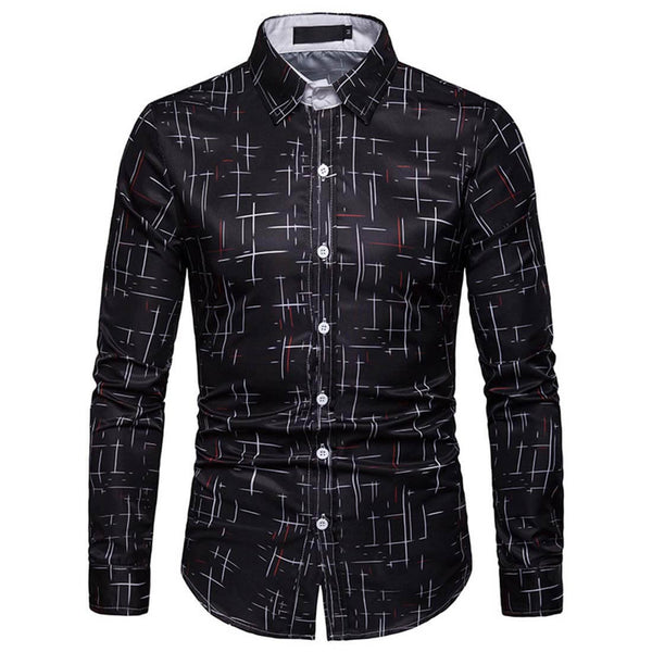 Starry Casual Black Long Sleeve Shirt - Aptro