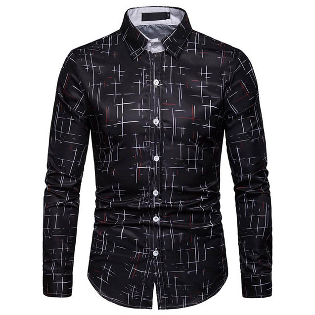 Starry Casual Black Long Sleeve Shirt - Aptro Fashion
