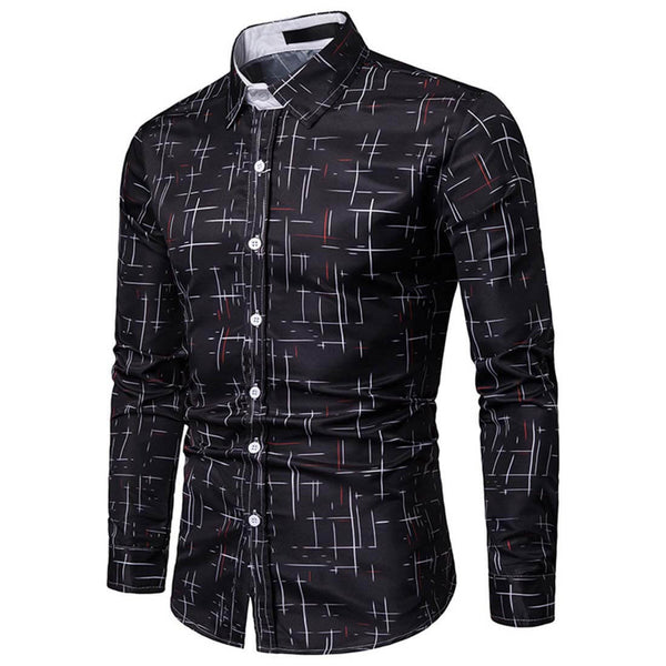 Aptro Starry Black Long Sleeve Casual Shirt
