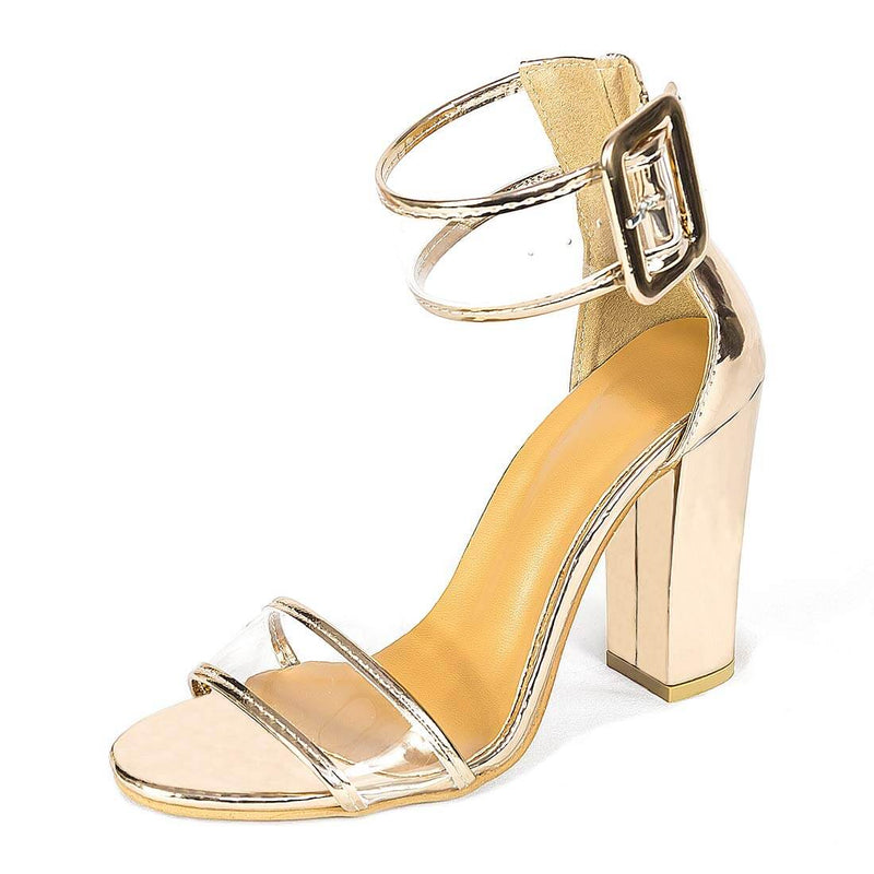 Women's High Heel Sandals Gold Chunky Party Shoes - Aptro