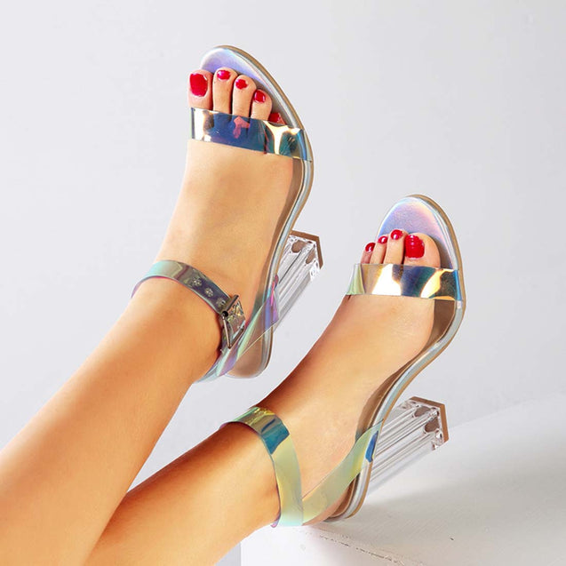 Women's High Heel Sandals Holographic Chunky Party Shoes - Aptro Fashion