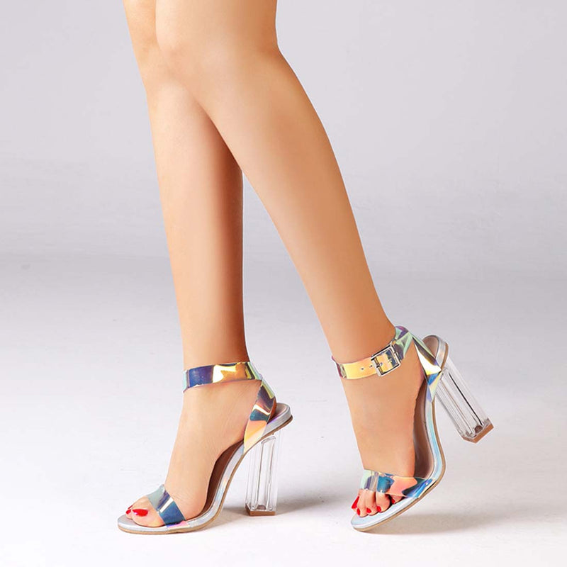 Women's High Heel Sandals Holographic Chunky Party Shoes - Aptro