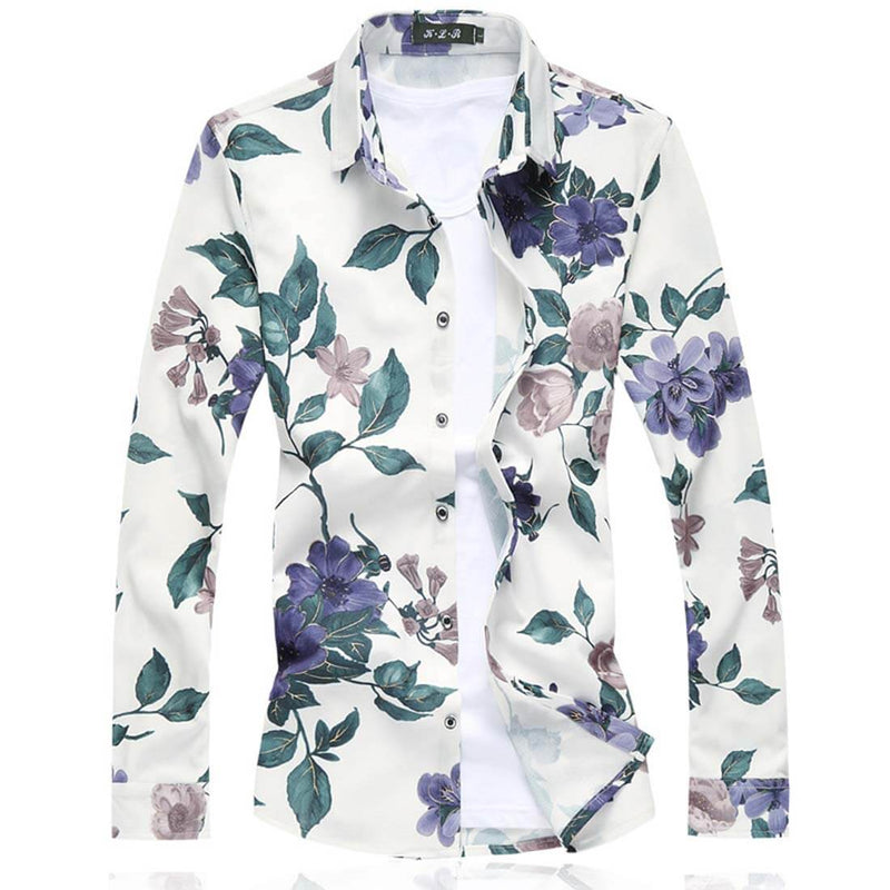 Spring 2019 Long Sleeve Floral Shirts Two Colors Available - Aptro
