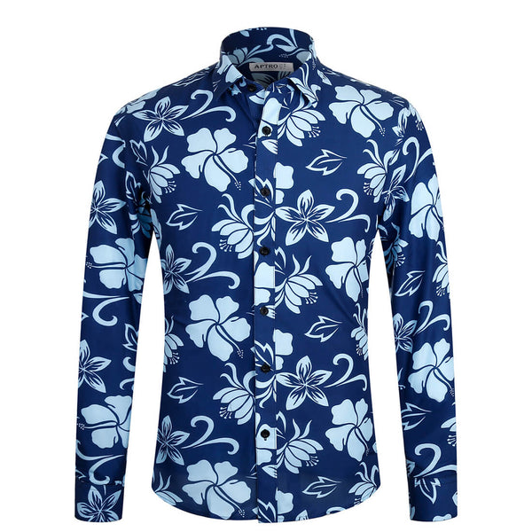 Aptro Men's Blue Floral Shirt