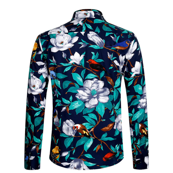 Aptro Men's Luxury Green Floral Shirt