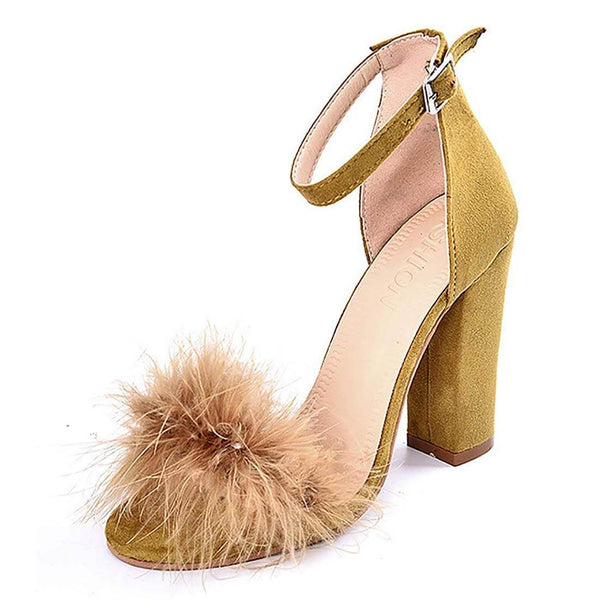 Women's High Heel Sandals Mustard Chunky Party Shoes - Aptro