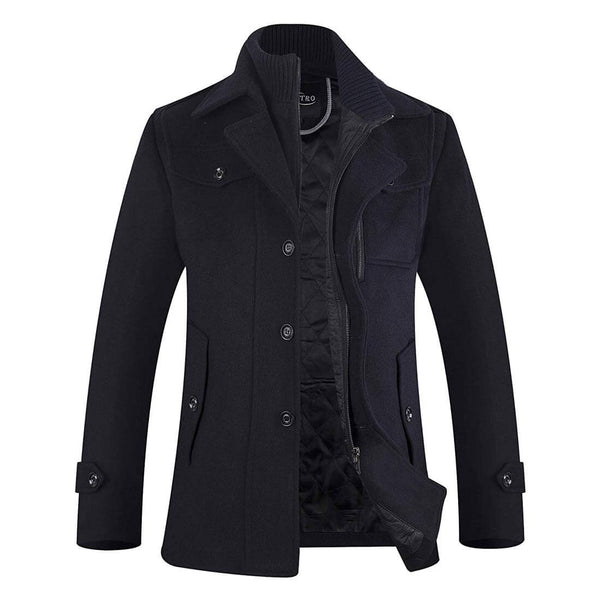 Men's Winter Coat Single Breasted Wool Pea Coat Fleece Jacket - Aptro