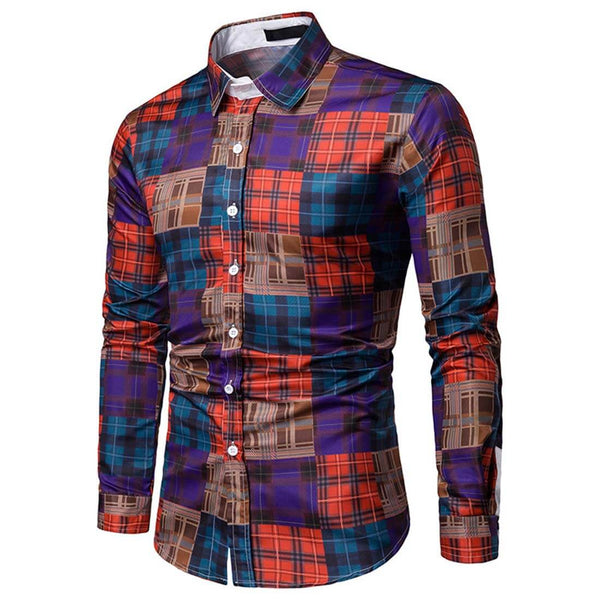 Long Sleeve Business Orange Plaid Shirt - Aptro Fashion