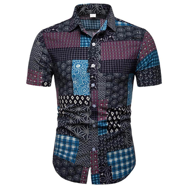 2019 Summer Casual Blue Short Sleeve Plaid Shirt - Aptro Fashion
