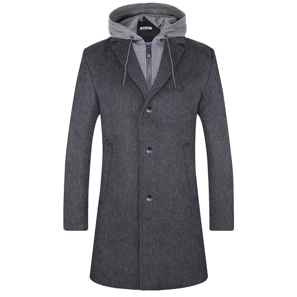 Aptro Men's Woolen Coat with Hood