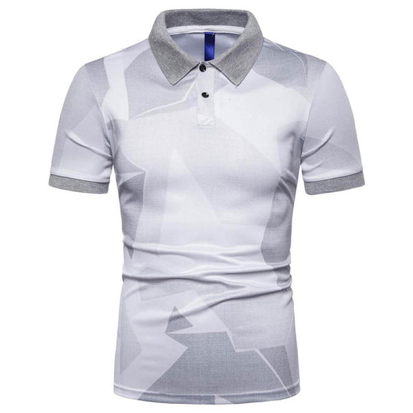 Casual Fashion Print Short Shirt POLO Shirt-Gray - Aptro