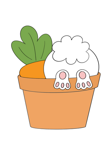 Bunny Butt & Carrot in Pot Cookie Cutter