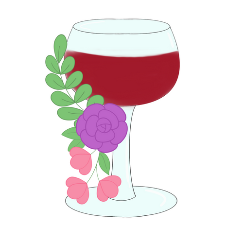 Floral Wine Glass Cookie Cutter