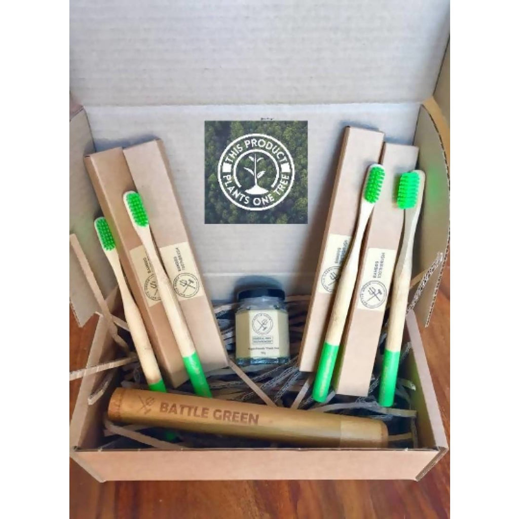 Battle Green - Bamboo Toothbrushes for a Year Box - Gift Box / Starter Kit | Humble Market