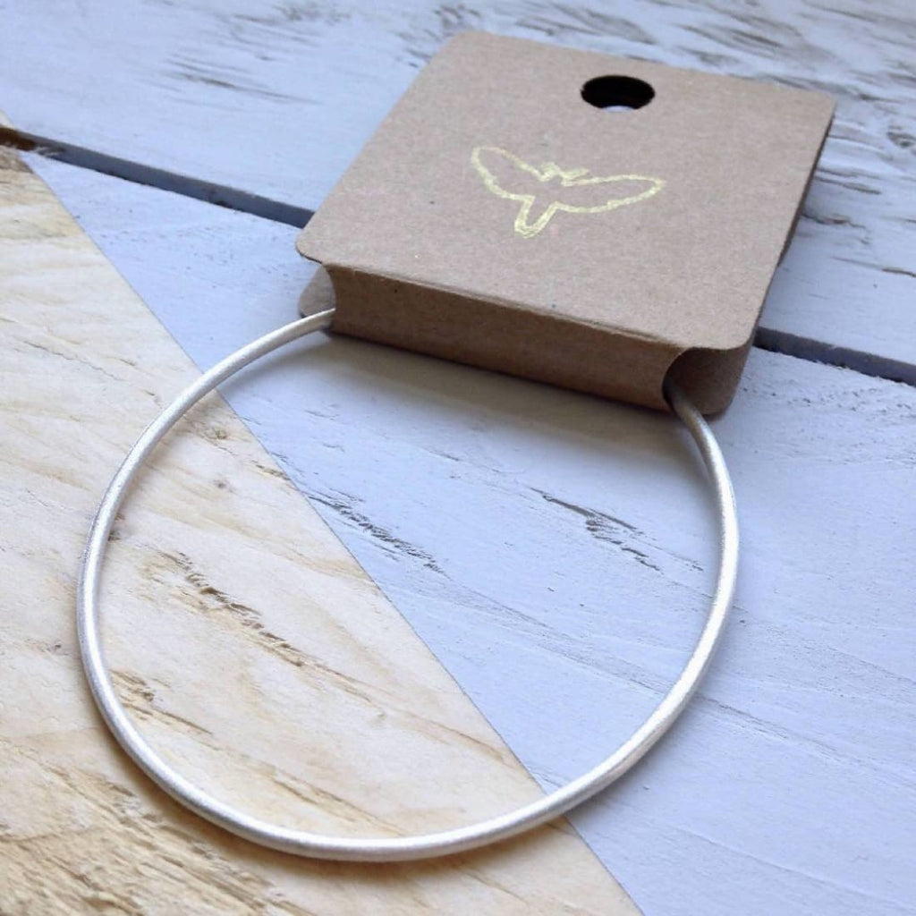 Recycled silver bangle in a brushed matt finish - Bangle/Jewellery | Humble Market