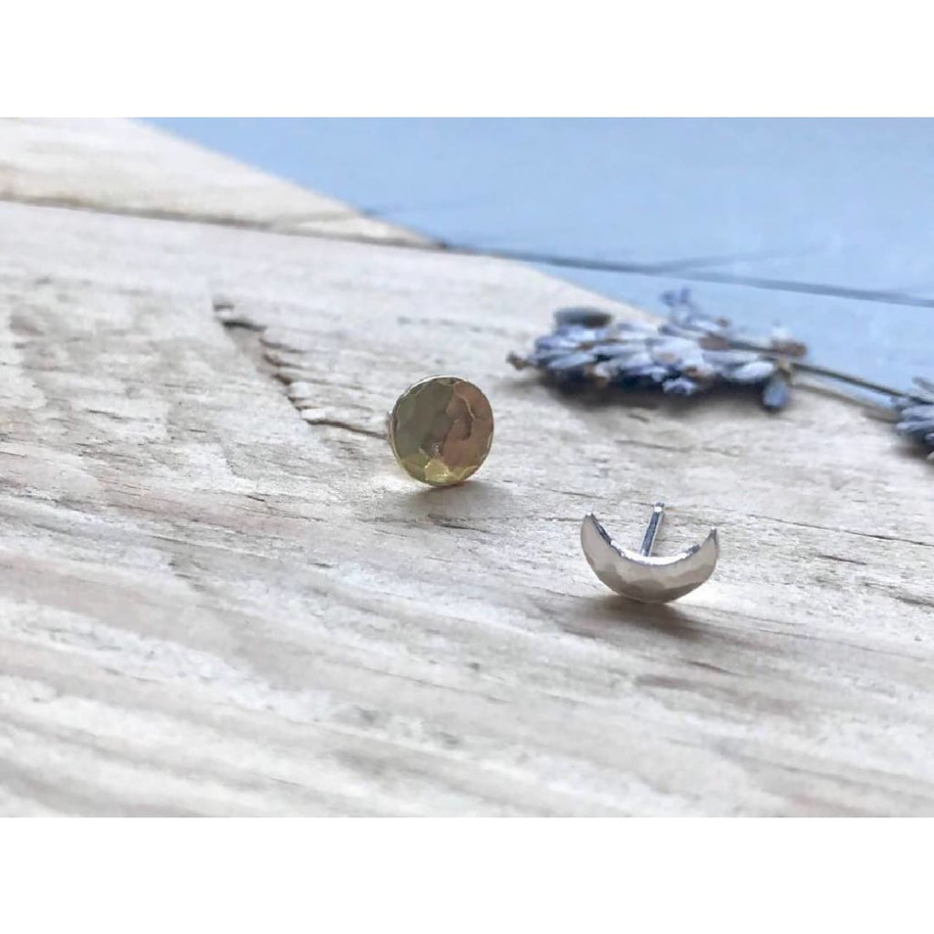 Sun and Moon Stud Earrings in recycled sterling silver and brass - Stud earrings/Jewellery | Humble Market