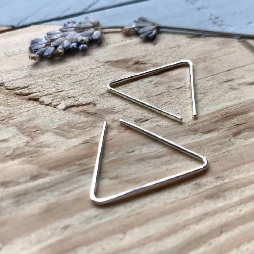 Triangle ear threaders in Recycle Sterling Silver - Earrings/Jewellery | Humble Market
