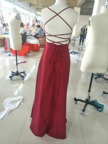 Red A-Line Spaghetti Straps Sleeveless Floor-Length Sexy Slit Prom Dresses PFP0171