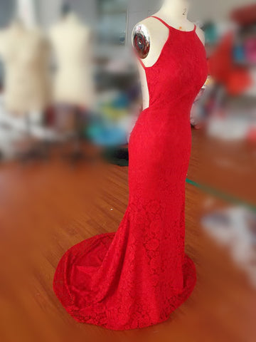 Simple Spaghetti Straps Backless Red Prom Dress,Long Mermaid Formal Dresses PFP0623