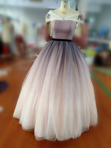 Off-the-shoulder Ombre Ball Gown Prom Dresses Cheap Long Evening Dresses PFP0487
