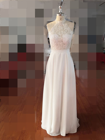 Simple A-Line Halter Sleeveless Chiffon Long Beach Summer Wedding Dress with Lace PFW0315