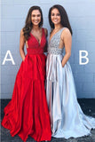 Cheap A-line Deep V Neck Beading Backless Long Prom Dress With Pockets PFP0005