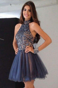 Cheap Short High Neck A-Line Beading Tulle Homecoming Dresses PFH0093