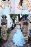 Fashion Two Pieces Light Blue Lace Tulle Ruffles A-line Prom Dress For Teens PFP0794