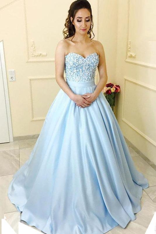 Modest A-Line Sweetheart Light Blue Long Prom Dress With Lace