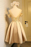 Off the Shoulder Short Prom Dress,A Line Appliques Bow-knot Homecoming Dress PFH0094