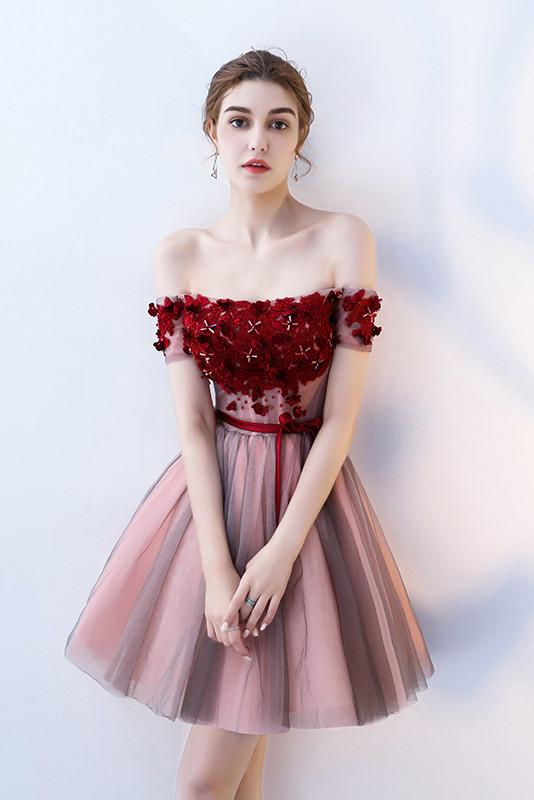 A Line Strapless Red Flowers Short Tulle Homecoming Dresses PFH0096