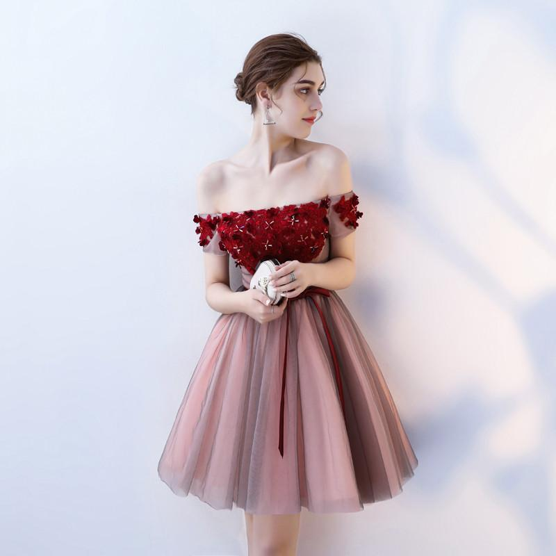82420c36c66 ... A Line Strapless Red Flowers Short Tulle Homecoming Dresses PFH0096 ...