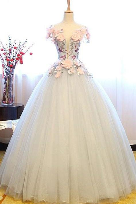 White Princess Deep V Neck Flowers Cap Sleeve Long Ball Gown Prom Dresses, Quinceanera Dress