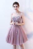 A Line Strapless Flowers Short Tulle Homecoming Dresses,Cocktail Dress PFH0097