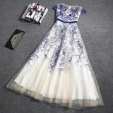 Promfast Beautiful Embroidery A-line Cap Sleeves Tulle Long Prom Dress Evening Dress PFP1829