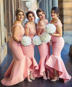 Elegant Baby Pink Mermaid Off the shoulder Ruffles Lace Top Bridesmaid Dresses PFB0007