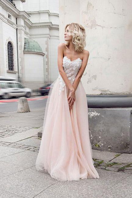 Beautiful A-Line Sweetheart Strapless Tulle Pearl Pink Long Prom Dress with Appliques