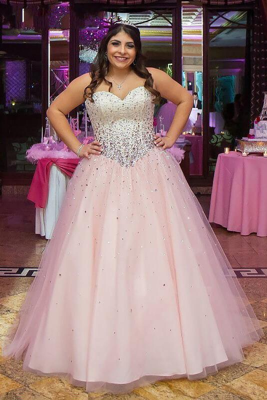 Princess Pink Sweetheart Strapless Tulle Ball Gown Beading Long Plus Size Prom Dress