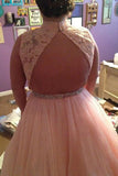 Pink Tulle High Neck Long Beading Plus Size Prom Dress With Lace Top PFP0823