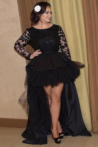 Black Long Sleeves Lace A Line High Low Plus Size Prom Dress