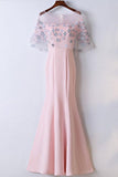 Elegant Pink Round Neck Short Sleeve Satin Lace Applique Long Prom Dress