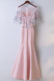 Elegant Pink Round Neck Short Sleeve Satin Lace Applique Long Prom Dress PFP0830